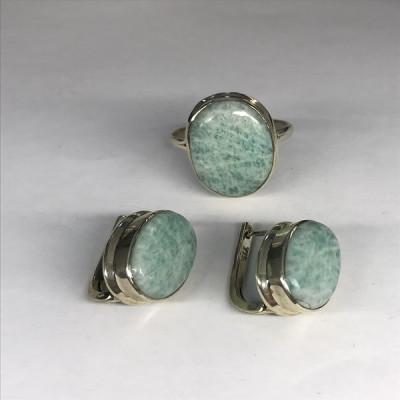 """Набор с """"Амазонитом"""" серебряные кольцо и серьги, Индия"""