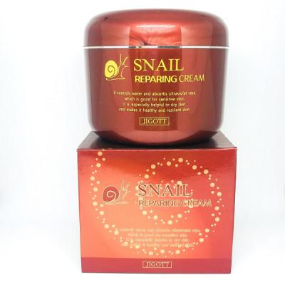 Крем для сухой и увядающей кожи, Snail reparing cream JIGOT
