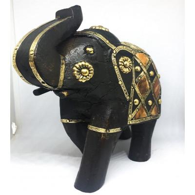 Деревянный слон с вырезкой латуни, Индия