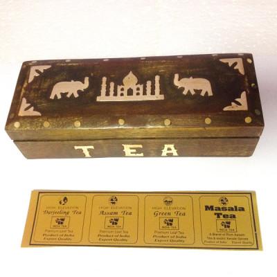 Чай Индийский в шкатулке 5 в 1, 200 гр (Ассам, Даржилинг, Масала, Зеленый)