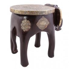"""Табурет """"Слон"""" из дерева и латуни (чёрный), Индия"""