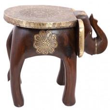 """Табурет """"Слон"""" из дерева и латуни (коричневый), Индия"""