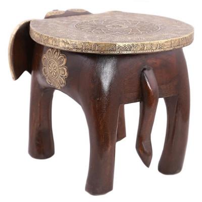 Табурет-слон из дерева и латуни, Индия