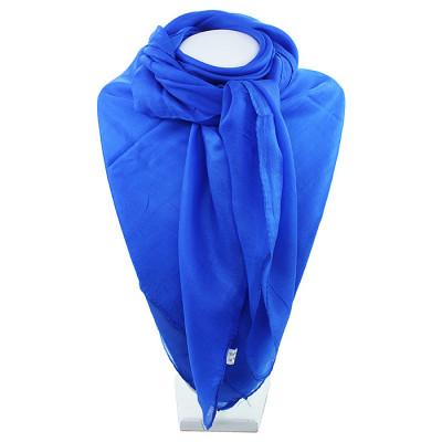 Индийский платок из натурального шёлка однотонный синий
