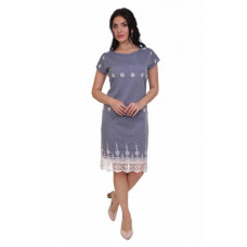 Платье (хлопок) с вышивкой приталенное 19