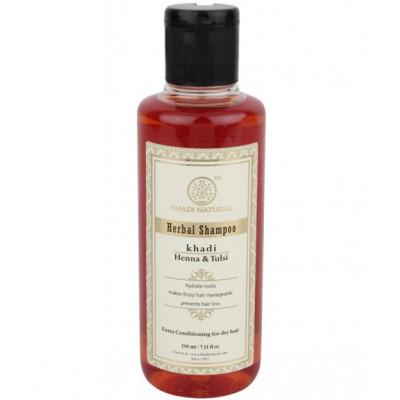 Натуральный Шампунь-Кондиционер Хна И Тулси-для сухих и ломких волос, беспечивает увлажнение, питание, придает блеск. Khadi Herbal Shampoo Heena Tulsi