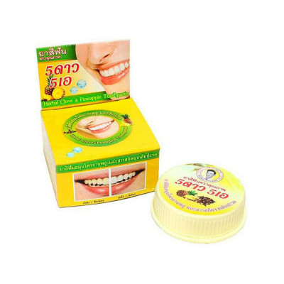Травяная зубная паста 5star «Ананас»- С витамином С. Быстро удаляет зубной налет и зубной камень.