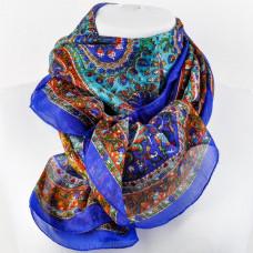 Платок шелковый с рисунком, синий