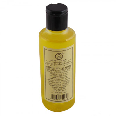 Травяной Шампунь Шафран, Туласи и Ритха- уменьшает выпадение волос, способствует росту новых, более лёгкому расчёсыванию, придают блеск волосам. Khadi Saffron, Tulsi and Reetha Herbal Shampoo, 210 мл.