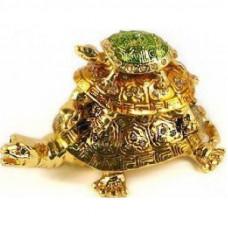 Шкатулка для ювелирных украшений «Три черепахи», 3-х ярусная, со стразами, золотой, 7 см