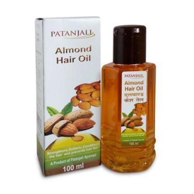 PATANJALI Масло для волос Миндаль- богатое микроэлементами, витаминами, оживляет сухие, ломки волосы, повышает эластичность, останавливает выпадение/ 100 мл.