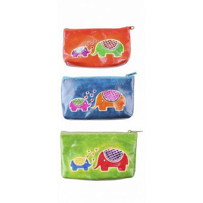 """Кожаный кошелек для мелочи ручной принт """"2 Слон"""""""