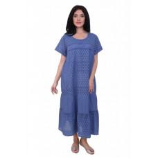 Платье хлопковое синий электрик с шитьем Gang 19