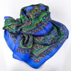 Платок синий, шелковый с рисунком