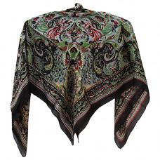 Платок, индийский шелк черный с рисунком