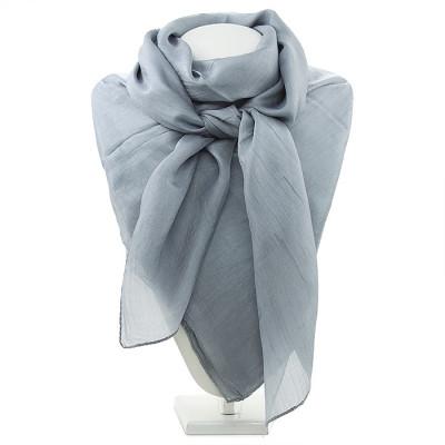 Платок из натурального шёлка однотонный серый
