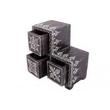 Шкатулка-комодик на 3 ящика (дерево, роспись)