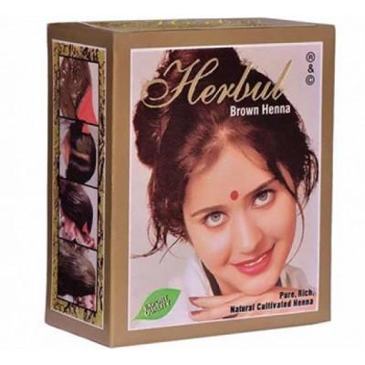 Хна для волос коричневая Herbal Henna 6 пакетиков по 10 гр.