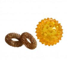 Массажный шарик су джок с двумя кольцами-пружинами
