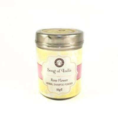 Сухой аюрведический шампунь Роза- предотвращению появления секущихся кончиков, ломкости и сухости волос. (Herbal Shampoo Powder Rose MAGIC OF INDIA), 50 г.
