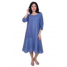 Платье из хлопка голубое с шитьем Gang 19