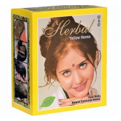 Хна для волос желтая Herbal Henna 6 пакетиков по 10 гр.
