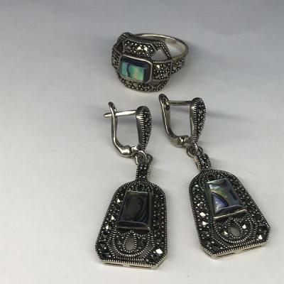"""Набор с """"Перламутром"""" серебряное кольцо и серьги, Индия"""