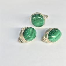 """Набор с """"Малахитом"""" серебренные кольцо и серьги, Индия"""
