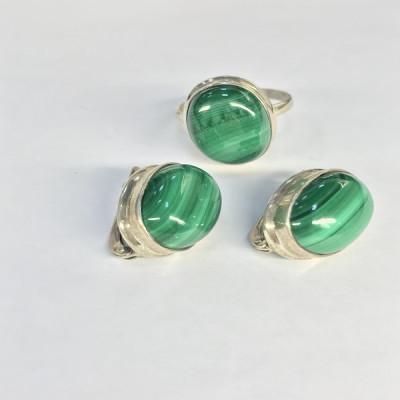 """Набор с """"Малахитом"""" серебряные кольцо и серьги, Индия"""