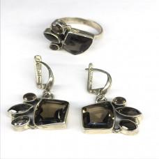 """Комплект с """"Раухтопазом"""" серебренные кольцо и серьги, Индия"""