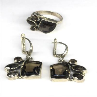 """Комплект с """"Раухтопазом"""" серебряные кольцо и серьги, Индия"""