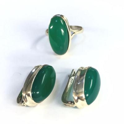 """Комплект с """"Хризопразом""""  серебряные кольцо и серьги, Индия"""