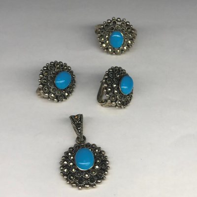 """Комплект с """"Бирюзой""""   серебряные кольцо, серьги и кулон, Индия"""
