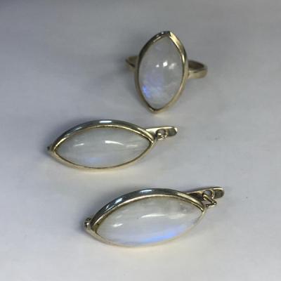 """Набор с  """"Лунным камнем"""" серебряные кольцо и серьги, Индия"""
