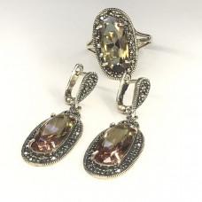 """Набор с """"Султанитом"""" серебренные кольцо и серьги, Индия"""