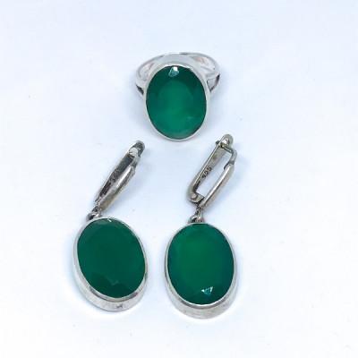 """Комплект с """"Хризопразом"""" серебряное кольцо и серьги, Индия"""