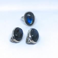 """Набор с камнем """" Лабрадор"""" серебренные кольцо и серьги, Индия"""