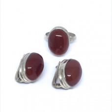 """Комплект с """"Сердоликом""""  серебренные кольцо и серьги, Индия"""