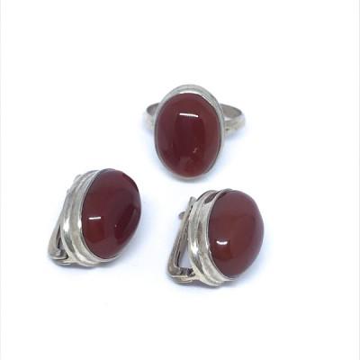 """Комплект с """"Сердоликом""""  серебряные кольцо и серьги, Индия"""