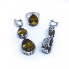 """Комплект с """"Султанитом""""  серебренные кольцо и серьги, Индия"""