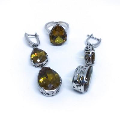 """Комплект с """"Султанитом""""  серебряные кольцо и серьги, Индия"""