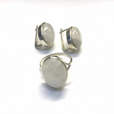Комплект с лунным камнем, серьги и кольцо