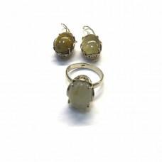 """Серебрныяй набор с натуральным камнем """"Рутиловый кварц"""""""
