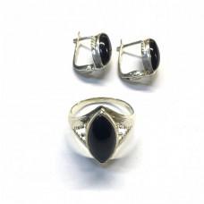 Черный агат в серебре (кольцо и серьги)