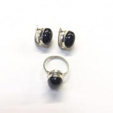 Серебряный комплект с Черным Агатом (кольцо и серьги)