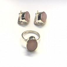 """Набор из серебра с """"Розовым кварцем"""" (серьги и кольцо)"""